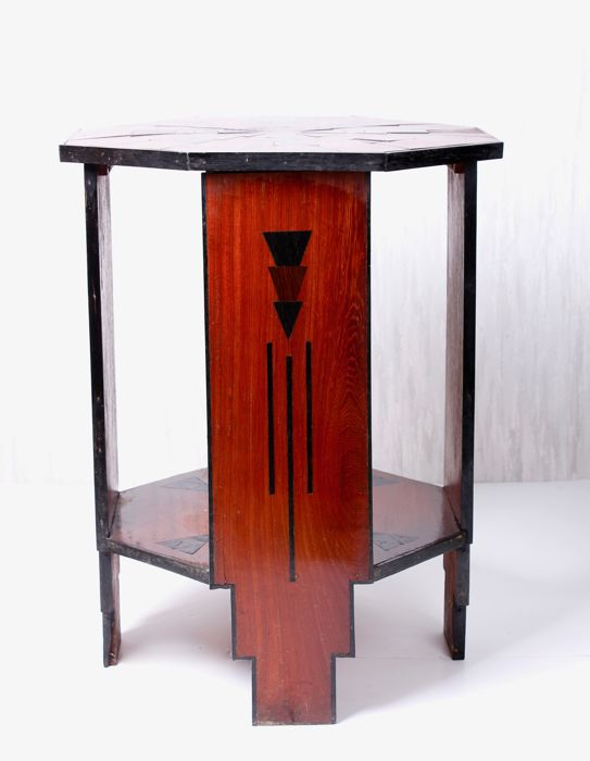Wooden Art Deco table with modernistic inlay