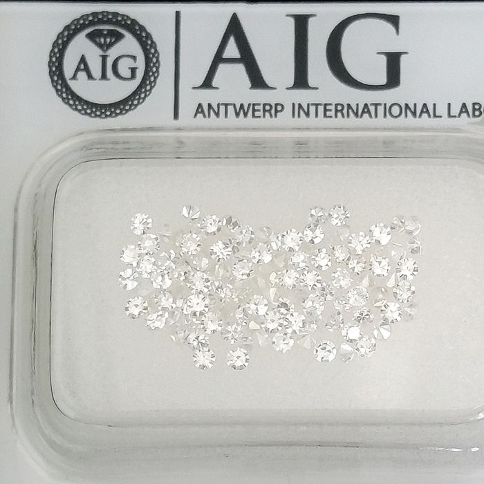 108 pcs Diamonds - 1.02 ct - Round - D (colourless), E - No Reserve Price, VS1, VS2, VVS1, VVS2