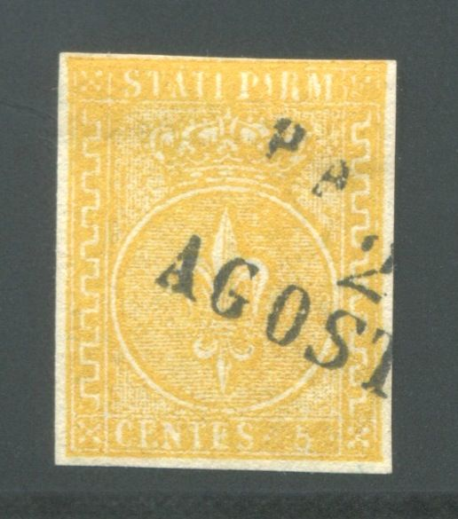 Parma 1853 - 5 cents yellow 2nd issue - Sassone N. 6a