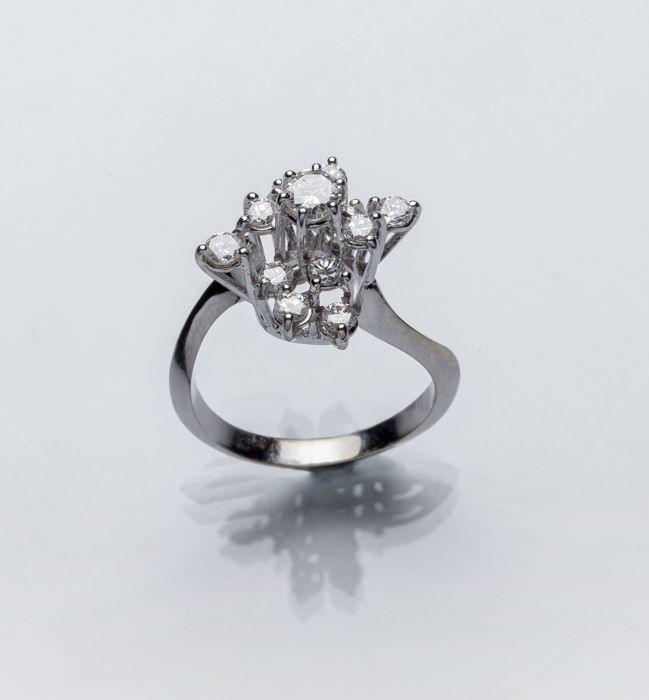 18 karaat Witgoud - Ring - 0.23 ct Diamant - Diamant