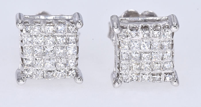 Oro blanco - Pendientes - 0.91 ct Diamante