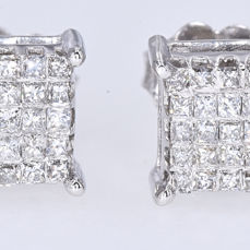 Witgoud - Oorbellen - 0.91 ct Diamant