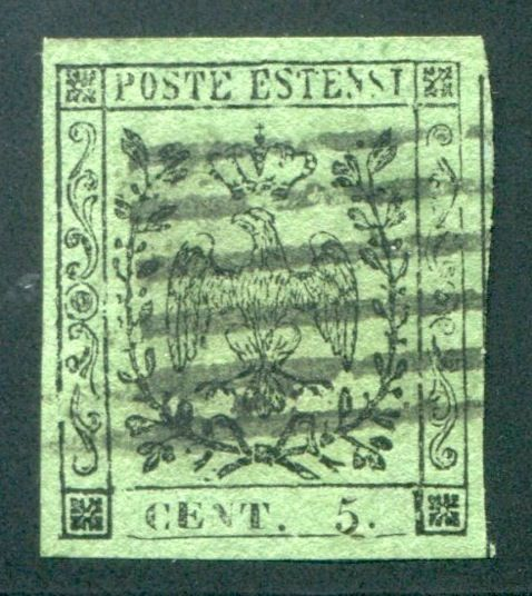 Modena 1855 - 5 cents olive green - Sassone N. 8