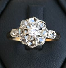 18 kt Roségold, Silber - Ring - 0.50 ct Diamant