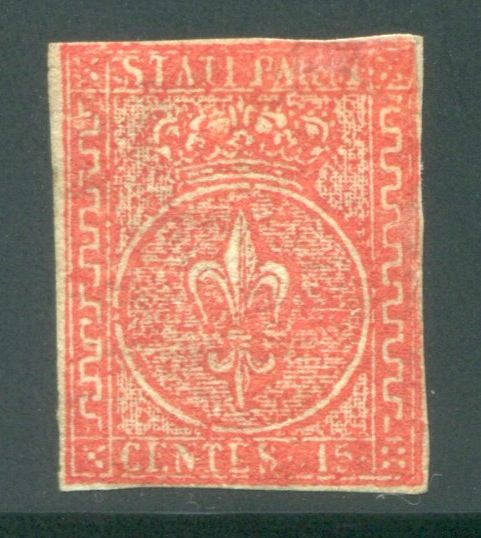 parme 1853 - 15 cents vermilion 2nd issue - Sassone N. 7