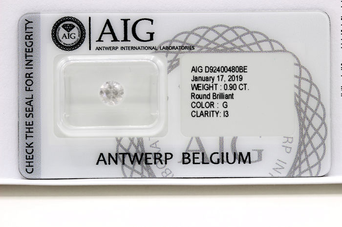 Diamant - 0.90 ct - Brillant - G - P3