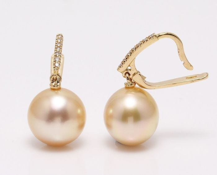 No reserve price - 14 kt. Yellow Gold- 10x11mm Golden South Sea Pearls - Earrings - 0.11 ct