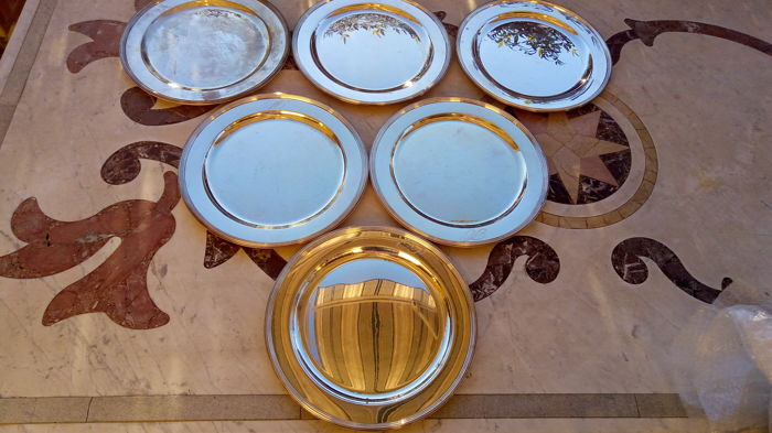 6 silver charger plates