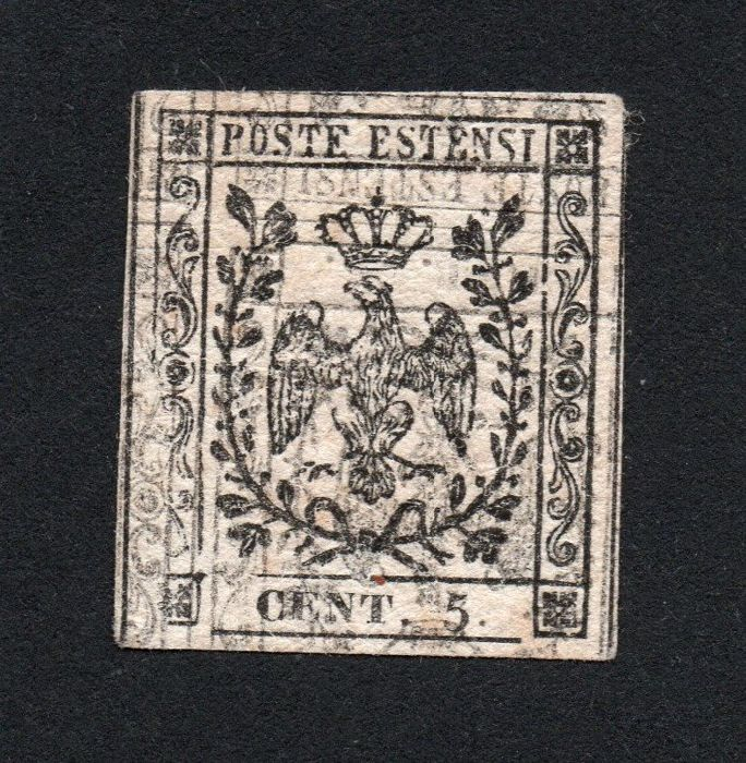 Modena 1852 - Proof of 5 cents with double print, one inverted and strongly shifted - Sassone N. P20