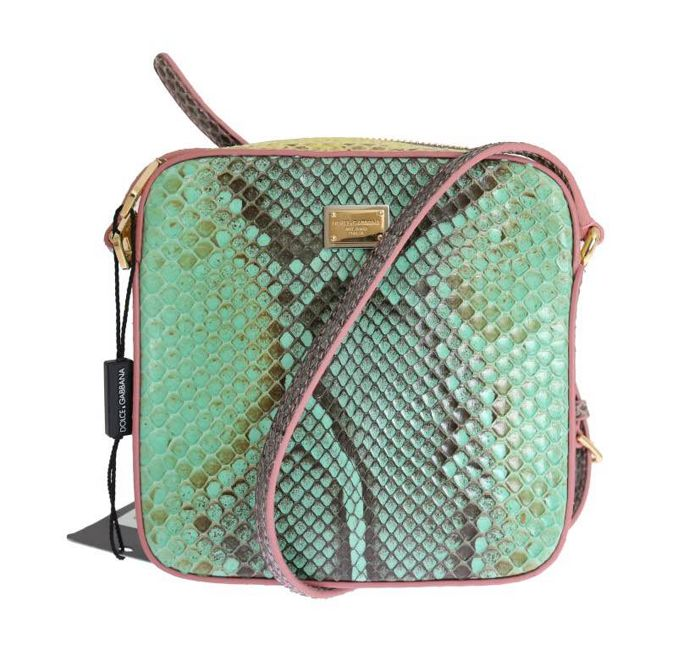 Dolce & Gabbana - GREEN PINK GLAM SNAKESKIN SHOULDER CLUTCH BAG Avondtas