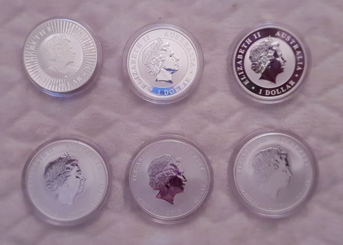 Australia - Dollars 2017, 2018, 2019, 2017, 2018 and 2019 (6 coins) - Silver