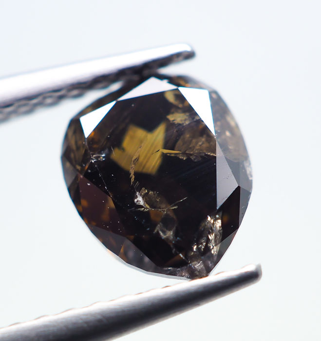 Diamond - 1.11 ct - Natural Fancy DEEP Brown - I2 *NO RESERVE*