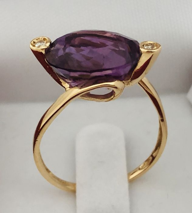 18 kt Gelbgold - Ring - 5.81 ct Amethyst - Diamant