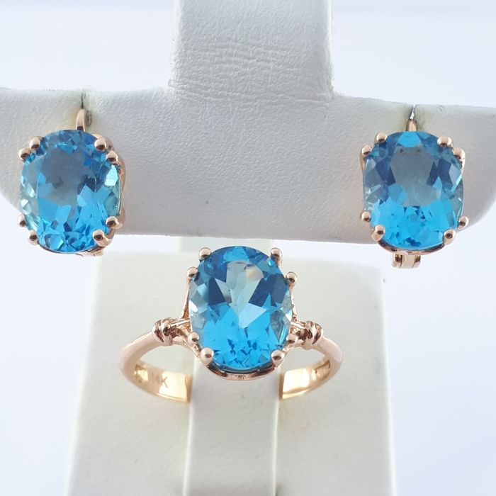 14 karaat Rosé goud - Ladie's Ring & Earring Set met Blue Topaz - 10.50 ct Topaas