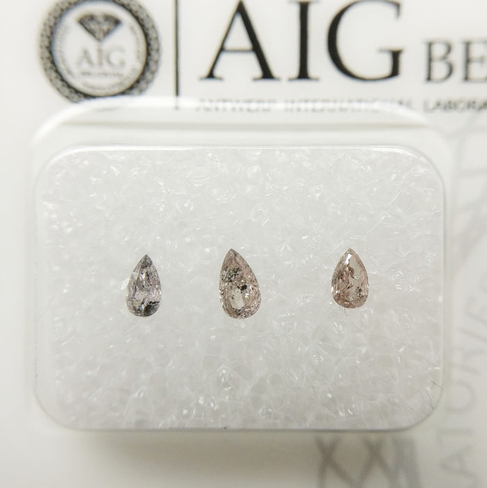 3 pcs Diamonds - 0.26 ct - Pear - I1, I2