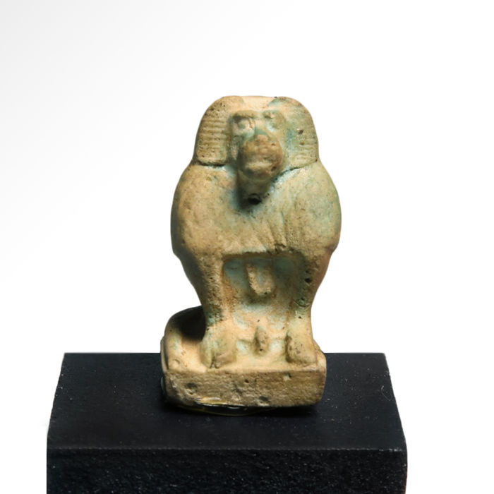 Ancient Egyptian Faience Amulet of a Baboon