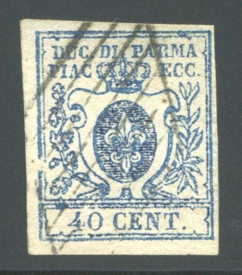 Parma 1857 - 40 cents dark sky blue large zero - Sassone N. 11a