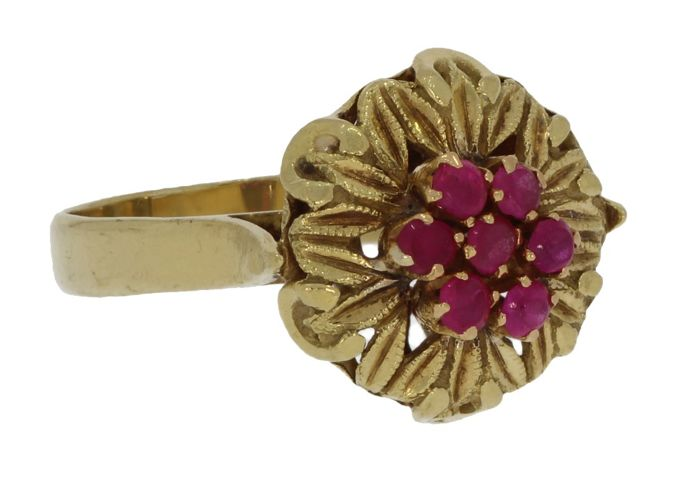 Vintage - 18 kt. Yellow gold - Ring Ruby