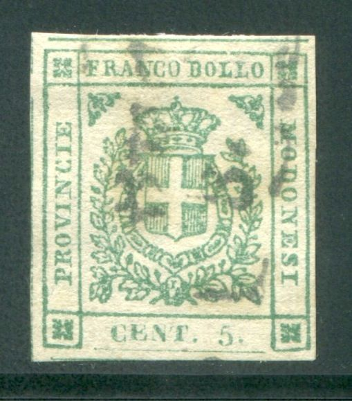 Modena 1859 - 5 cents emerald green Provisional Government - Sassone N. 12a