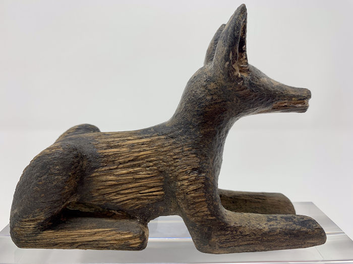 Ancient Egyptian Stuccoed Wood Statue of the God Anubis EX-CHRISTIE'S - 12.3×5×8.8 cm