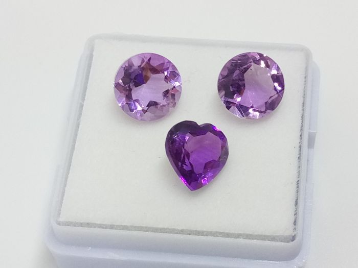 3 pcs  Amatista - 5.25 ct