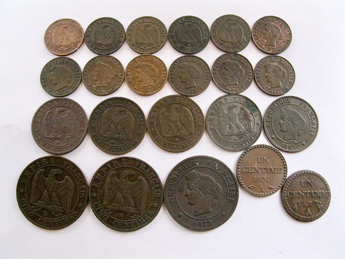 France - Lot of 22 different coins (1, 2 & 5 Centimes) 1798/1897 - Bronze