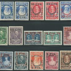 Spain 1927 - Red Cross complete set with overprints (authorisations) - Edifil 373/387