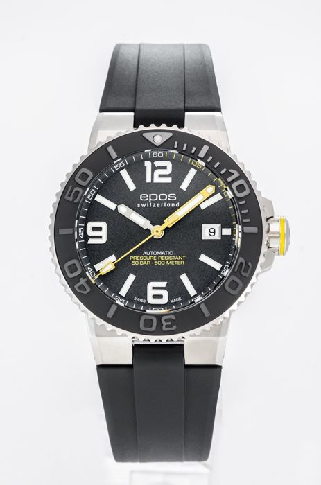 Epos - Mens Sportive Watch Automatic 41MM - 3441-F-RUB-BLK Rubber  - Heren - 2011-heden