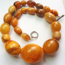 Collectible, unique 100% natural Baltic amber, Each amber bead has been cut from a single piece - Necklace