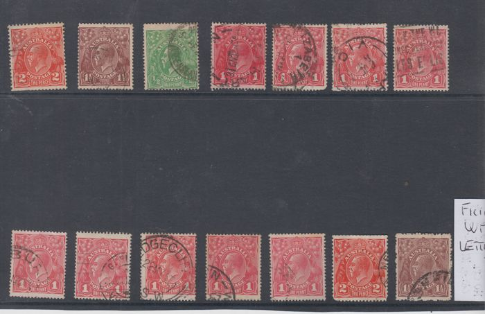Australië 1913/1930 - Selection of stamps with variety of inverted watermark and in letters