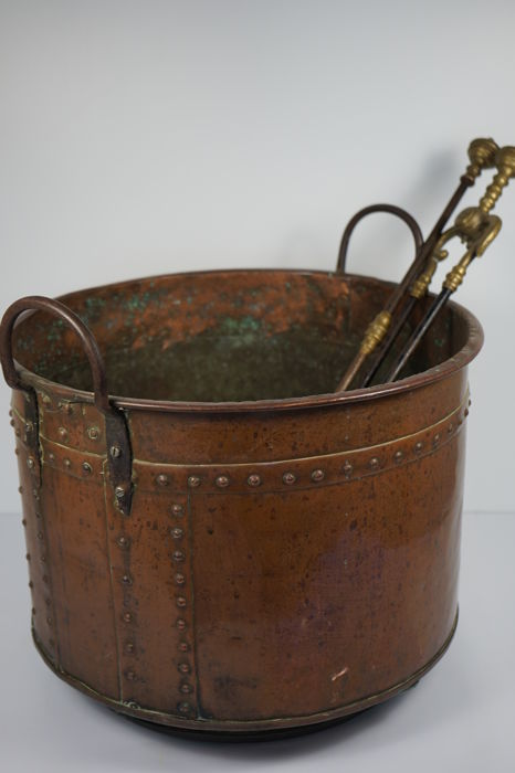 Large Wood Bucket (Aker) - Koper, Messing