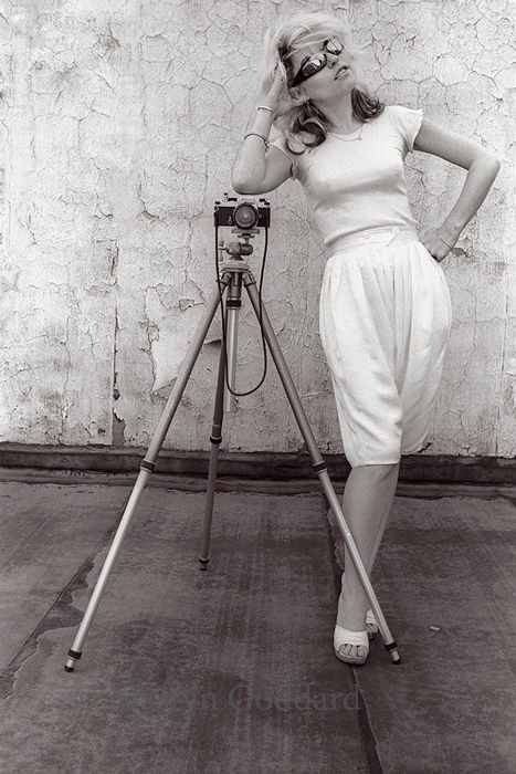Martyn Goddard (1951-) - Debbie Harry of Blondie with camera & tripod, 1978