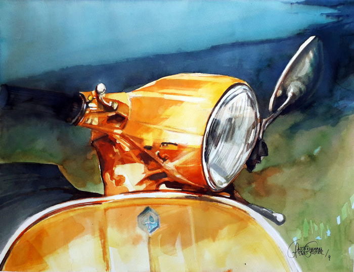 Originele aquarel door Gilberto Gaspar - Vespa Amarela - 2019 (1 items)
