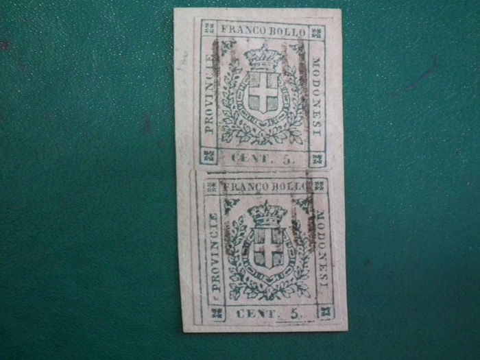 Oude Italiaanse staten 1859 - MODENA - Provisional Government - 2 pieces on fragment - Sassone 12