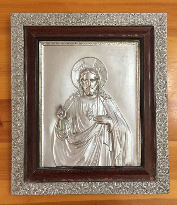Antique picture Jesus Christ - Bronze laminate - plated in silver color