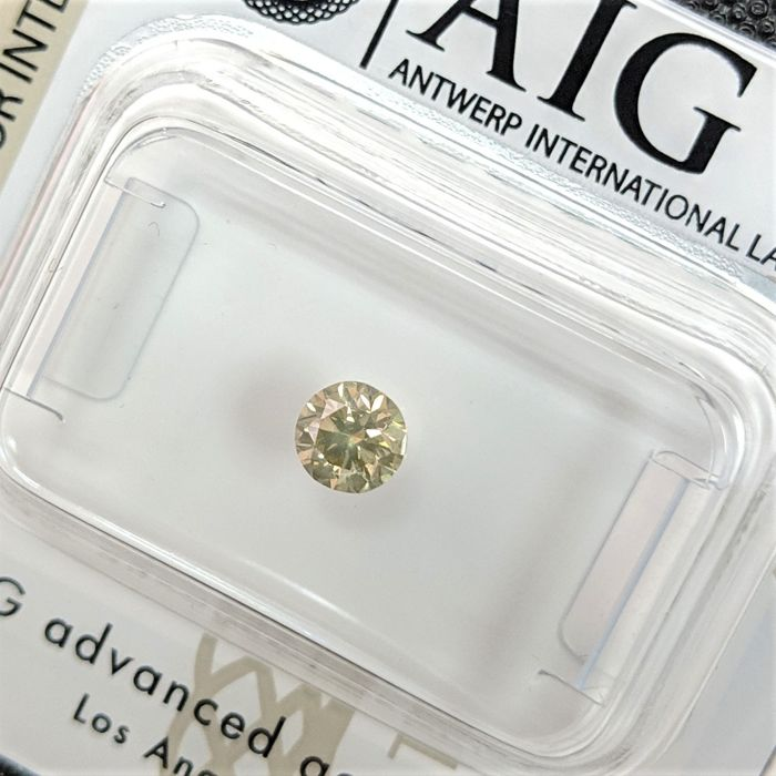 Diamant - 0.32 ct - Brillant - Fancy grün gelb - No Reserve Price, SI2