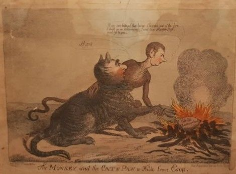 S.W Fores - The Monkey and the Cat's Paw a Fable from Esop