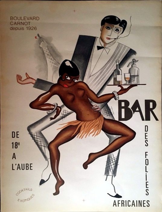 Anonymous (Paul Colin like) - bar des Folies Africaines - Een zeldzame originele litho poster ca. 1950