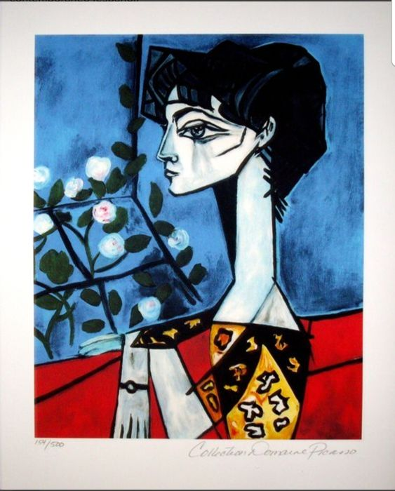 Pablo Picasso (after) - Retrato de Jacqueline Roque con flores