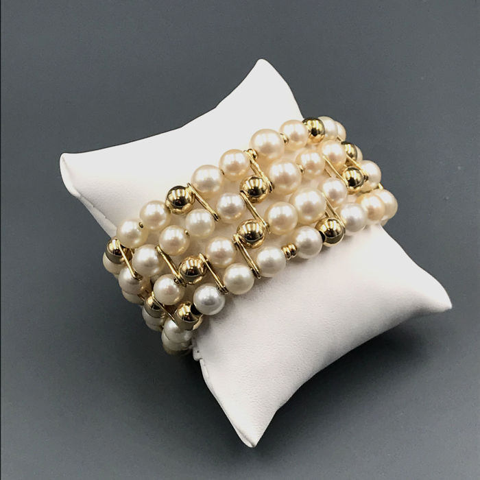 18 carati Yellow gold - 7 - 8.26 mm Akoya pearls - Bracciale