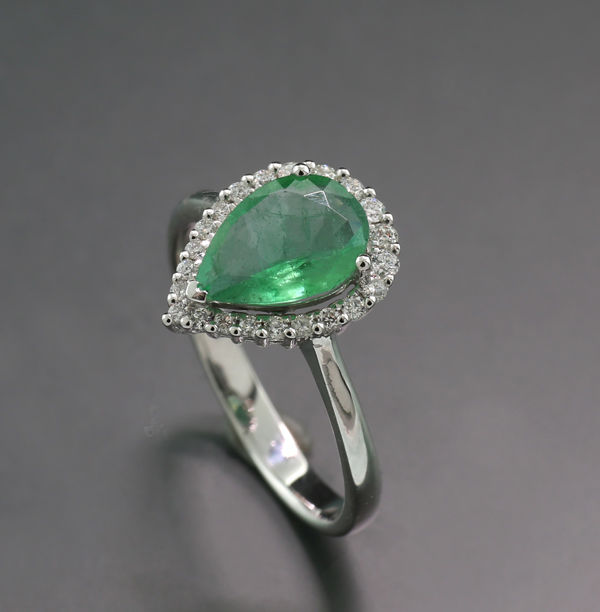 18 carats Or blanc - Bague - 1.30 ct Emerald Drops Transparent - Un prix minimum - Diamants