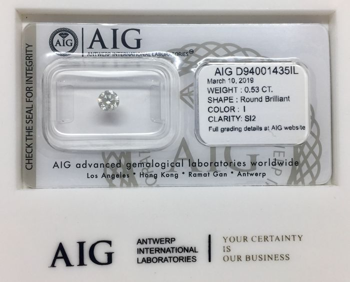 1 pcs Diamond - 0.53 ct - Brilliant, Round - I - SI2