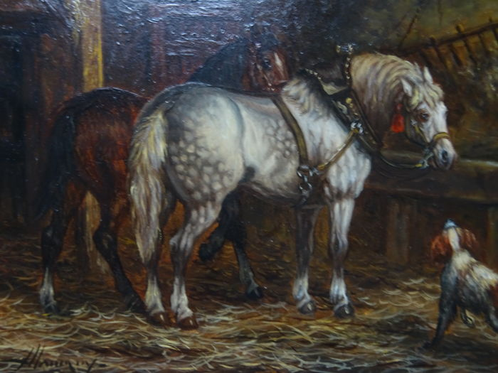 Alex Alemany (1943) - Stable with horses