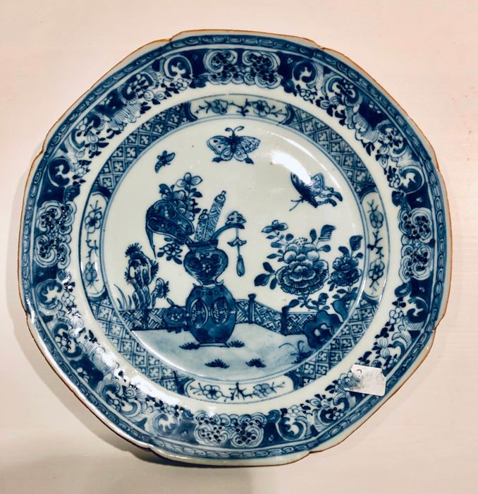 Bord - Blauw en wit - Porselein - China - Qianlong (1736-1795)