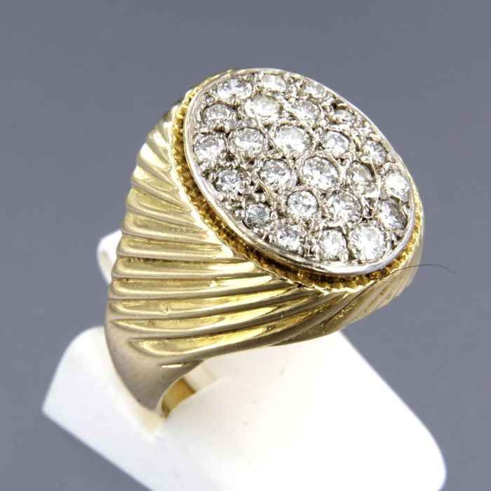 14 karaat Geel goud, Witgoud - Ring - 1.20 ct Diamant