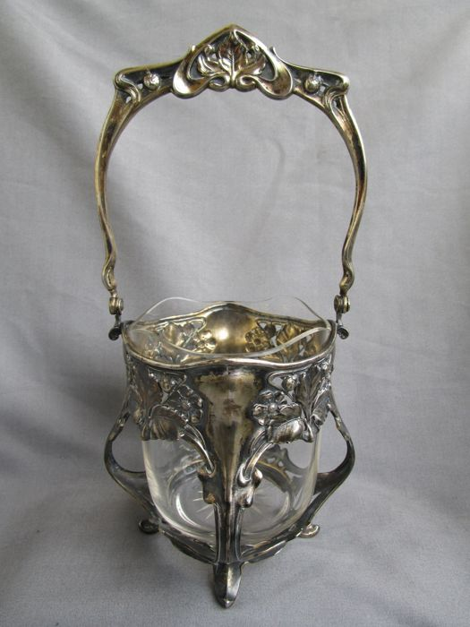 800 Silver Basket with Glass