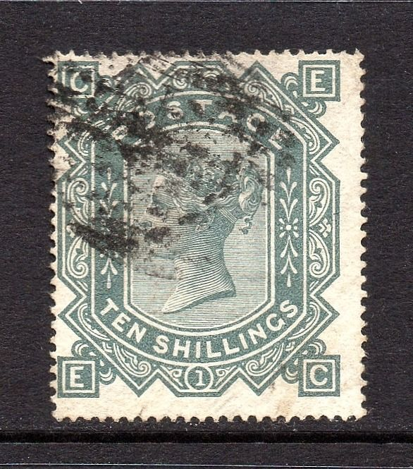 Grã-Bretanha - 1878 10/- Greenish Grey Plate 1 Wmk Maltese Cross - Stanley Gibbons SG128