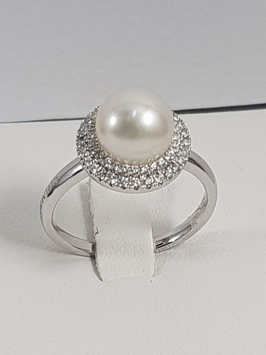 Chimento - 18 quilates Oro blanco - Anillo - 0.23 ct Diamante - Perla