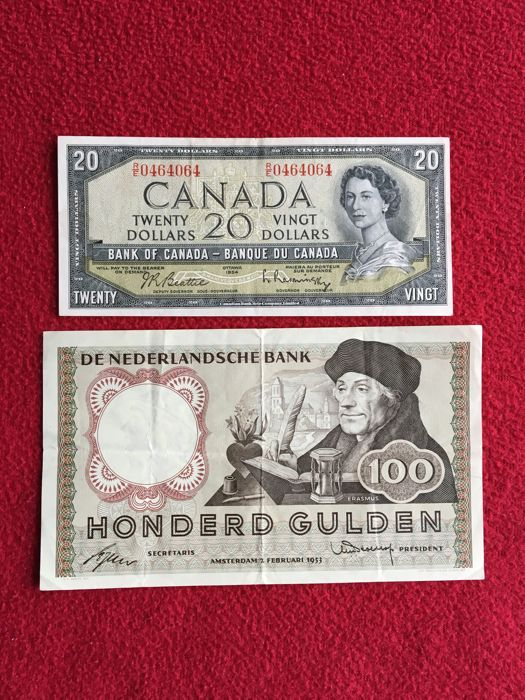 World - Netherlands 100 Gulden 1953 Replacement - Mevius 121-1, Canada  20 Dollar 1954 - Pick 80b