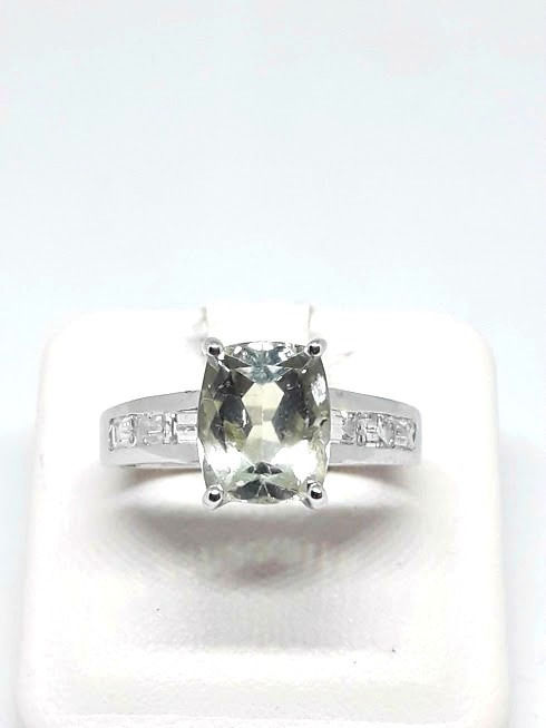 18 karaat Witgoud - Ring - 1.40 ct Zeewater - Diamanten